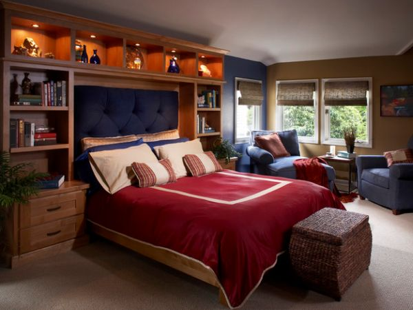 Vivacious boys bedroom with bright navy blue tufted headboard