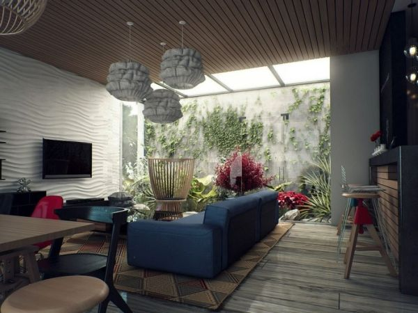 Vivacious-living-space-that-invites-in-nature-supplemented-by-interesting-skylight-use