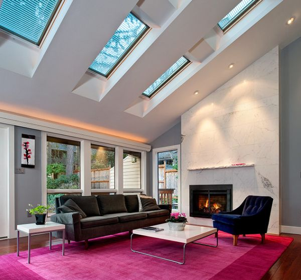 Vivid and brilliant living room design studded with chic skylights