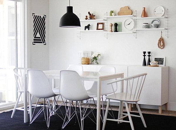 White credenza in a white room