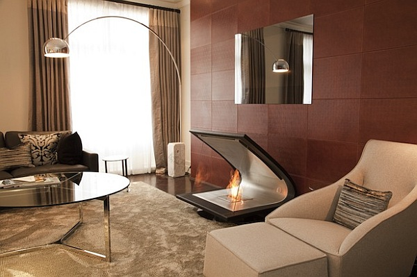 Zeta fireplace - made of leather, steel and glass