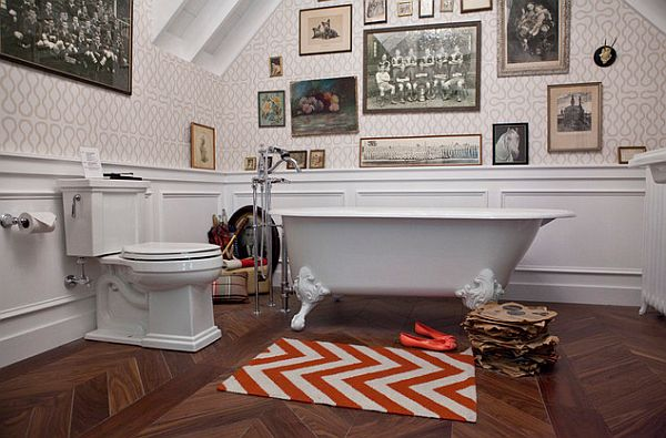 accent color for your bathroom with a white and red rug