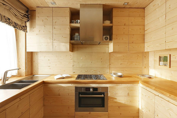 all wood rustic kitchen