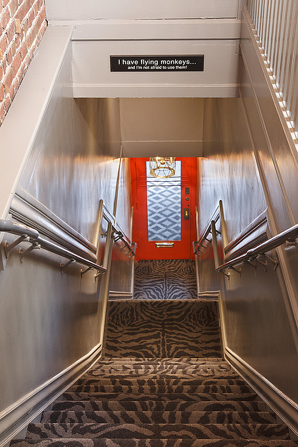 animal print carpet for the stairs