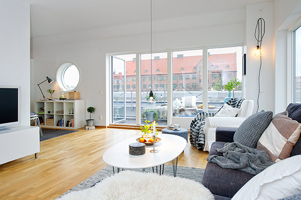 Timeless design for modern scandinavian attic apartment for Design apartment 50m2