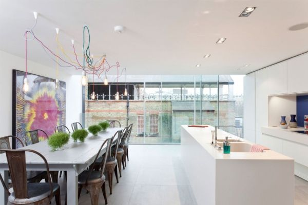 beautiful open space kitchen design Fluid Design: Water Tower in London Transformed into a Contemporary Luxury Home