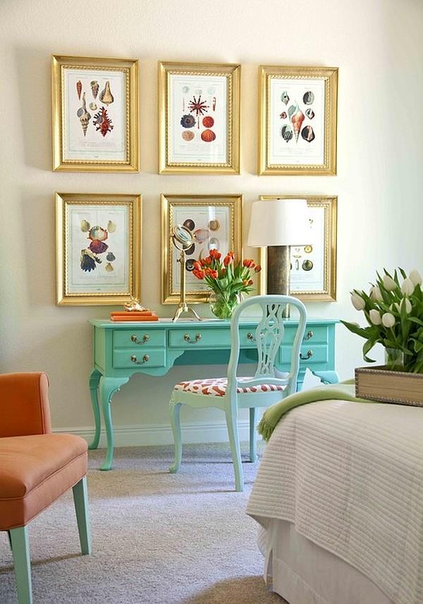 Beautiful vintage shape blue desk