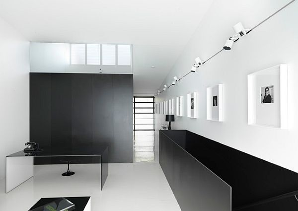Black and white minimalist home office