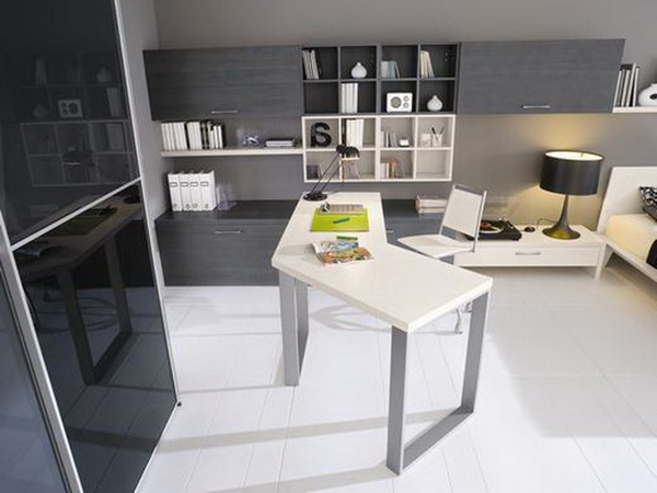 Black and white modern study room with creative desk Home study room ideas