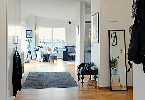 black and white scandinavian apartment