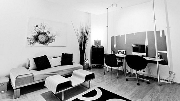 black and white study room Sophisticated Home Study Design Ideas