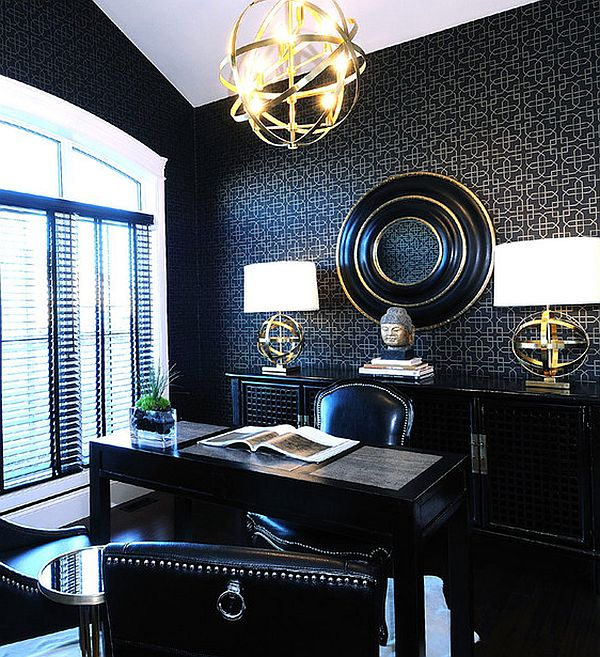 design view in gallery black themed study home office - Home Study Design Ideas