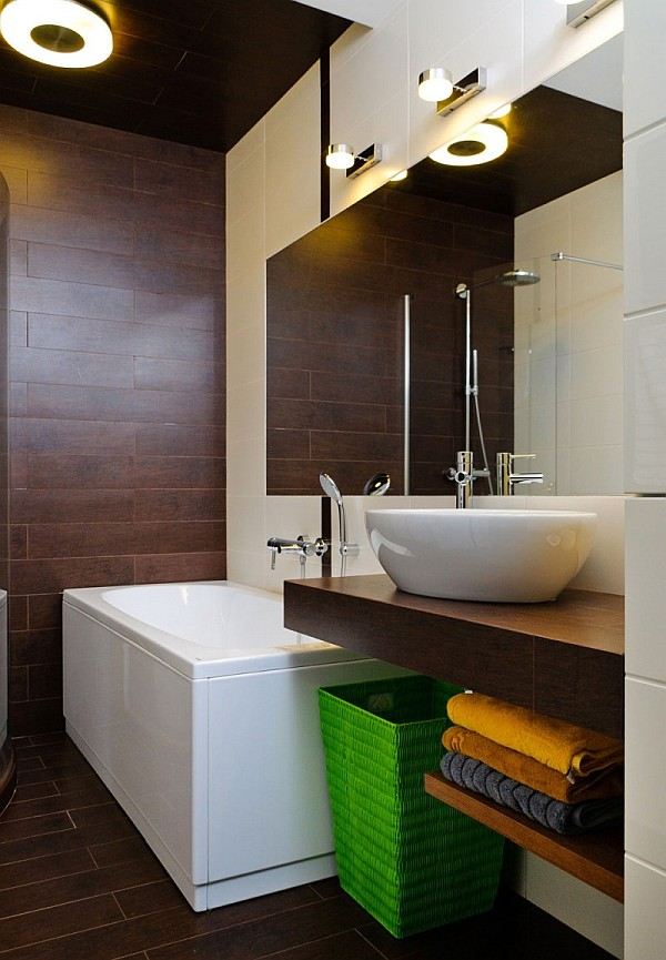 Amazing Shower Area Is Decorated In Decadent Bronze Tiles That Compliment