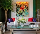 Colorful living room with emerald accents