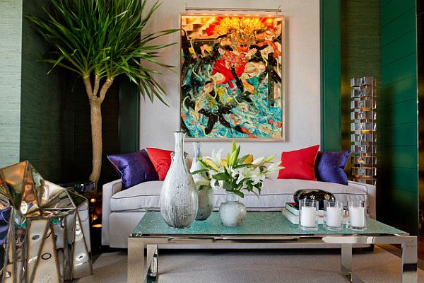 colorful living room with emerald accents Pantone Announces Emerald As Color of the Year in 2013