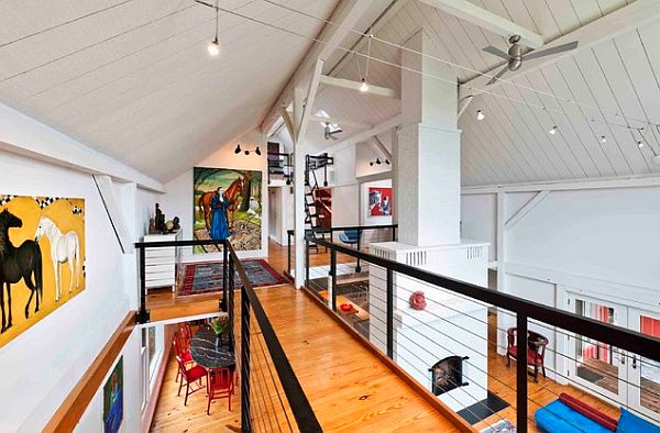 Colorful loft with hidden study room