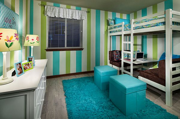 cool loft bed set up with dinette below Outfitting Your Kids' Room With A Stylish Loft Bed