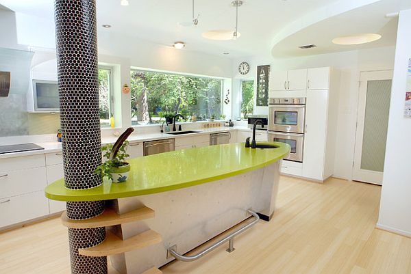 Elegant View In Gallery Custom Built Kitchen Island With Glossy Green Counter