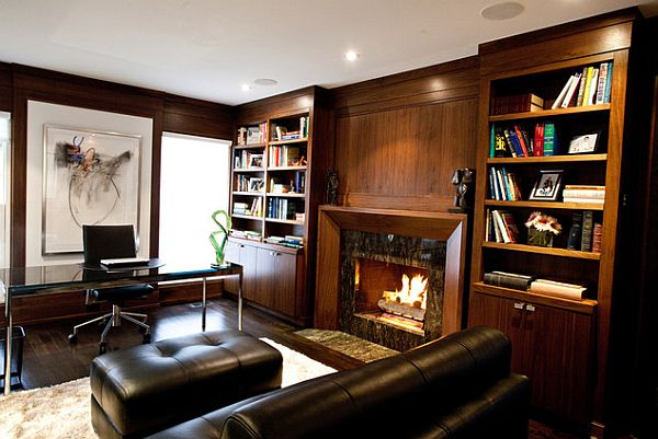 Elegant home office library study room decoist for Den study design ideas