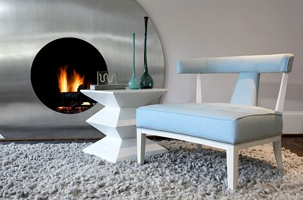 Cozy Scandinavian deisgn with fun shaped fireplace