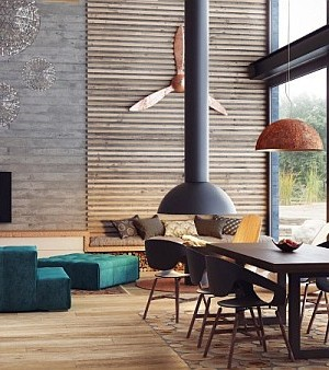 industrial feel for a duplex loft-like residence