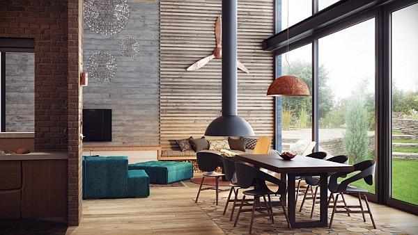 industrial feel for a duplex loft-like residence