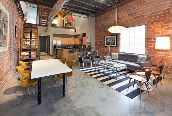 A study room well hidden in this industrial style loft