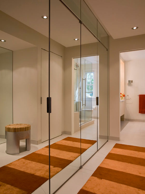 view in gallery modern closet with mirrors for an enlarged space by forma design - Mirror Wall Designs