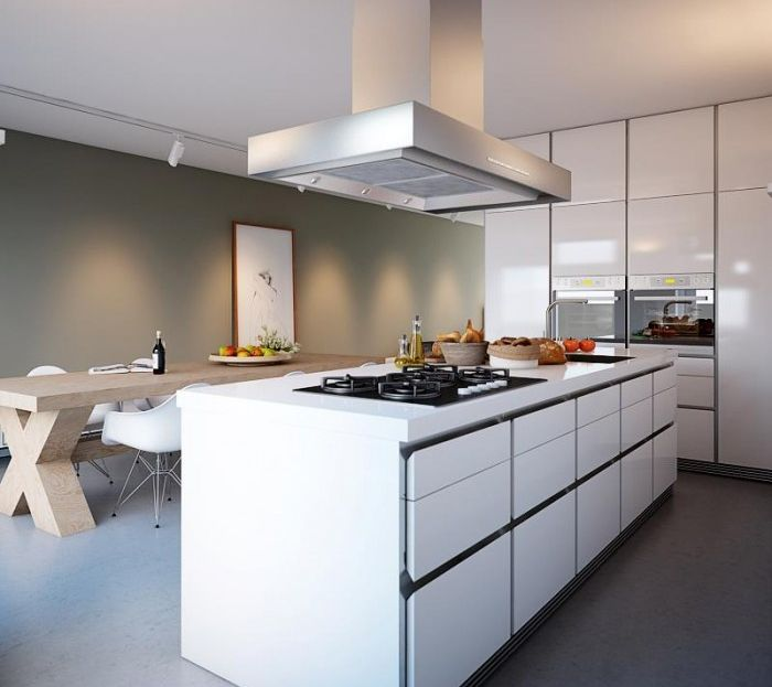 21 Sleek And Modern Metal Kitchen Designs: Modern Kitchen Island With White Cabinets
