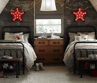 neutral colored Christmas bedroom