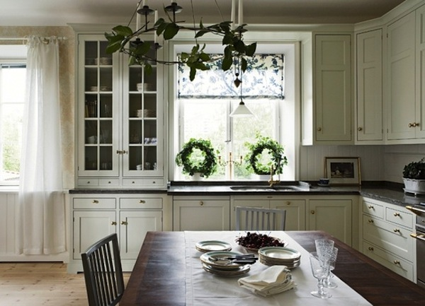 neutral colored Christmas kitchen