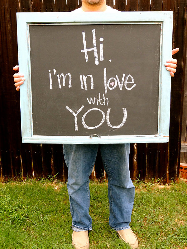 I love you, on a chalkboard made from an old windows frame