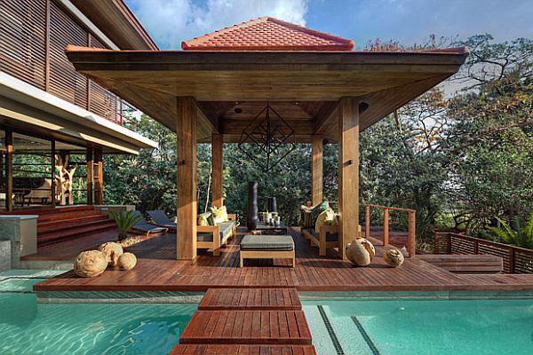 pagoda style outdoor terrace