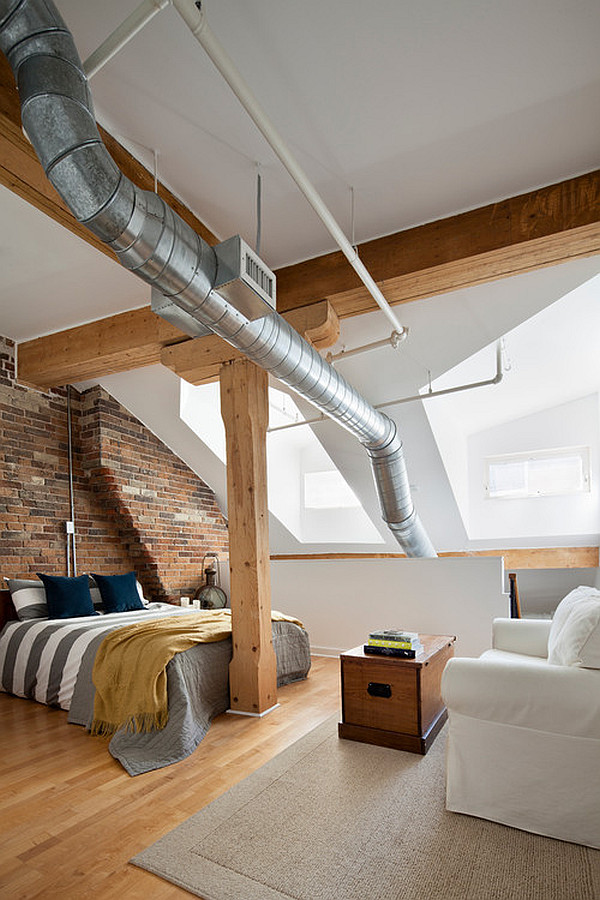Penthouse loft bedroom in an old historic building in Toronto