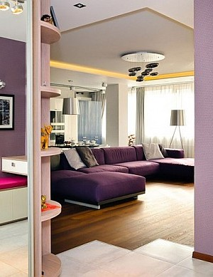 purple couch and walls