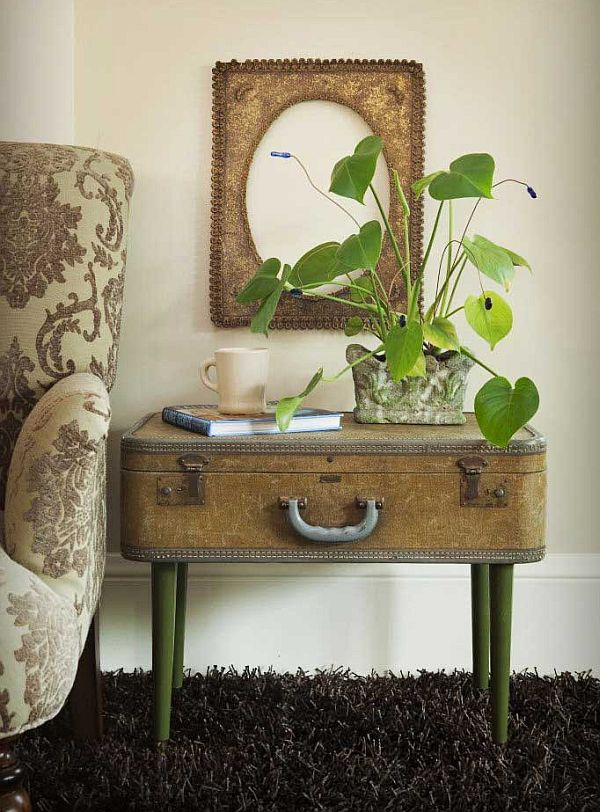 Repurposed vintage suitcase as sidetable