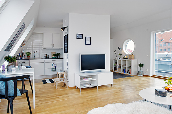 scandinavian inspired white living room