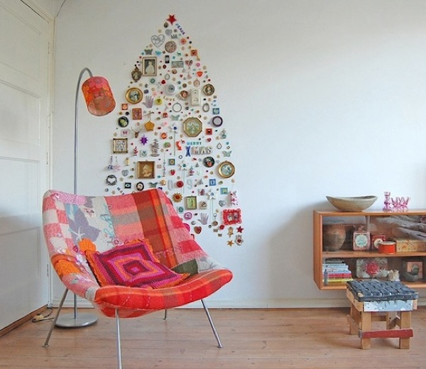 space saving christmas tree wall idea