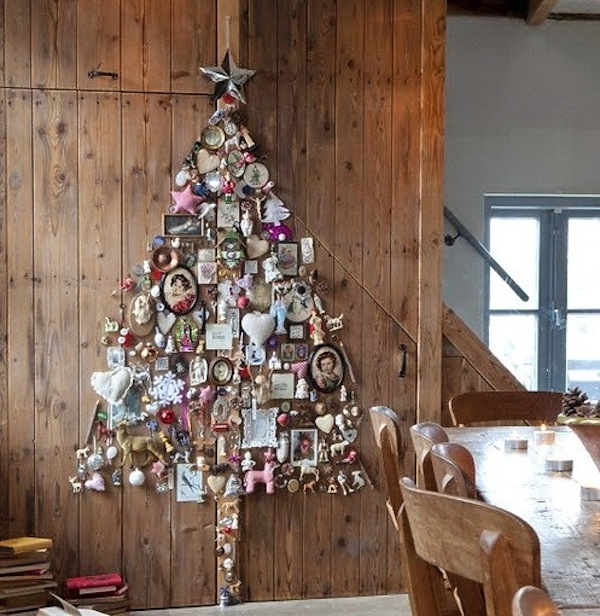 Creative ideas for space saving christmas trees for your home - Sapin de noel a accrocher au mur ...