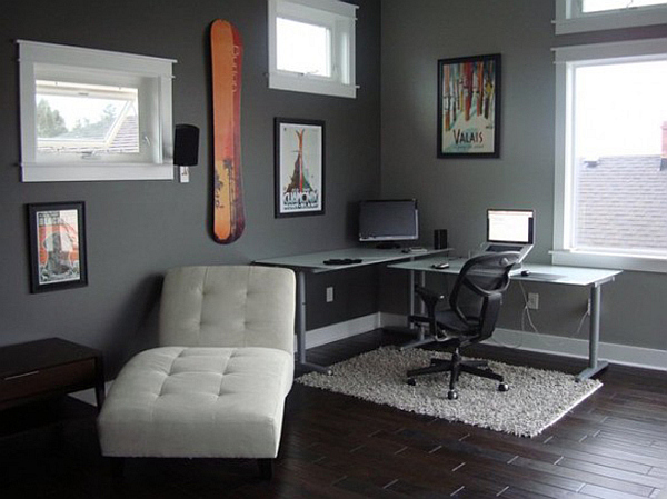 Office Wall Decorating Ideas: Sophisticated Home Study Design Ideas