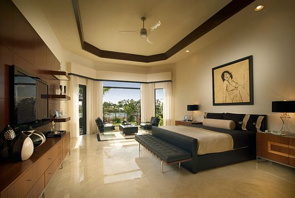 Stunning bachelor pad bedroom with polished flooring