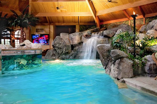 View In Gallery Luxurious Home Spa With Wooden Furnished Walls And Waterworks View In Gallery Stunning