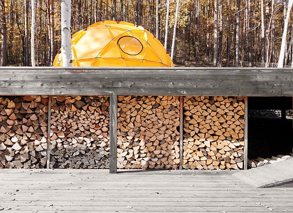 stylish stacked fire wood