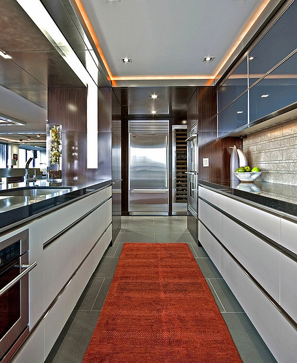 ultra contemporary kitchen with red themed throw rug