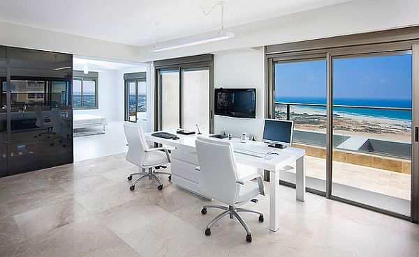 Ultra contemporary white home office design