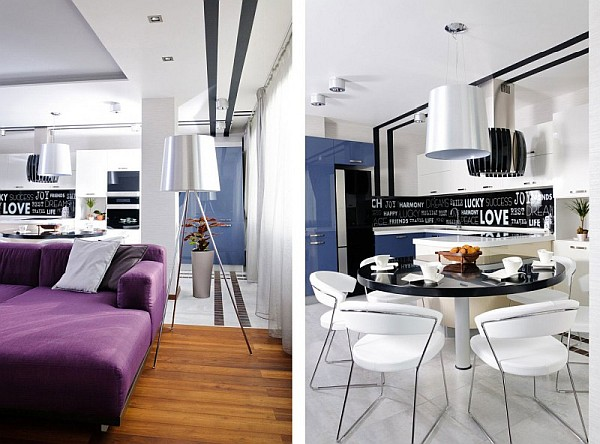 Contemporary Apartment In Ukraine With Stylish Furniture Purple Hues By Eno Getiashvili