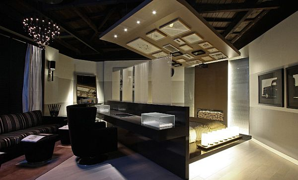 Ultra modern bedroom with study room behind the bed