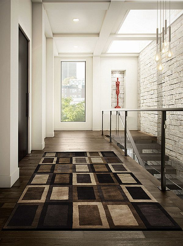 Ultra modern entryway rug with brown theme for Modern foyer design