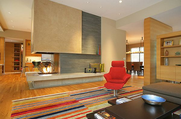 Colorful living room with ultra modern fireplace design idea
