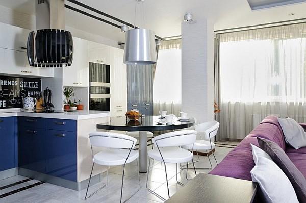white and blue kitchen design